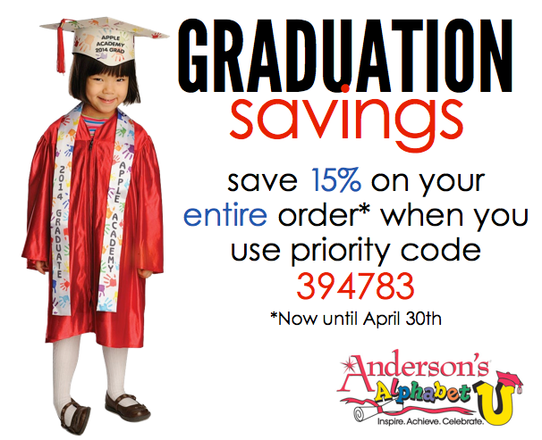 Save 15% on caps, gowns, and everything else for preschool or kindergarten graduation