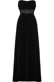 Embellished silk-blend crepe gown