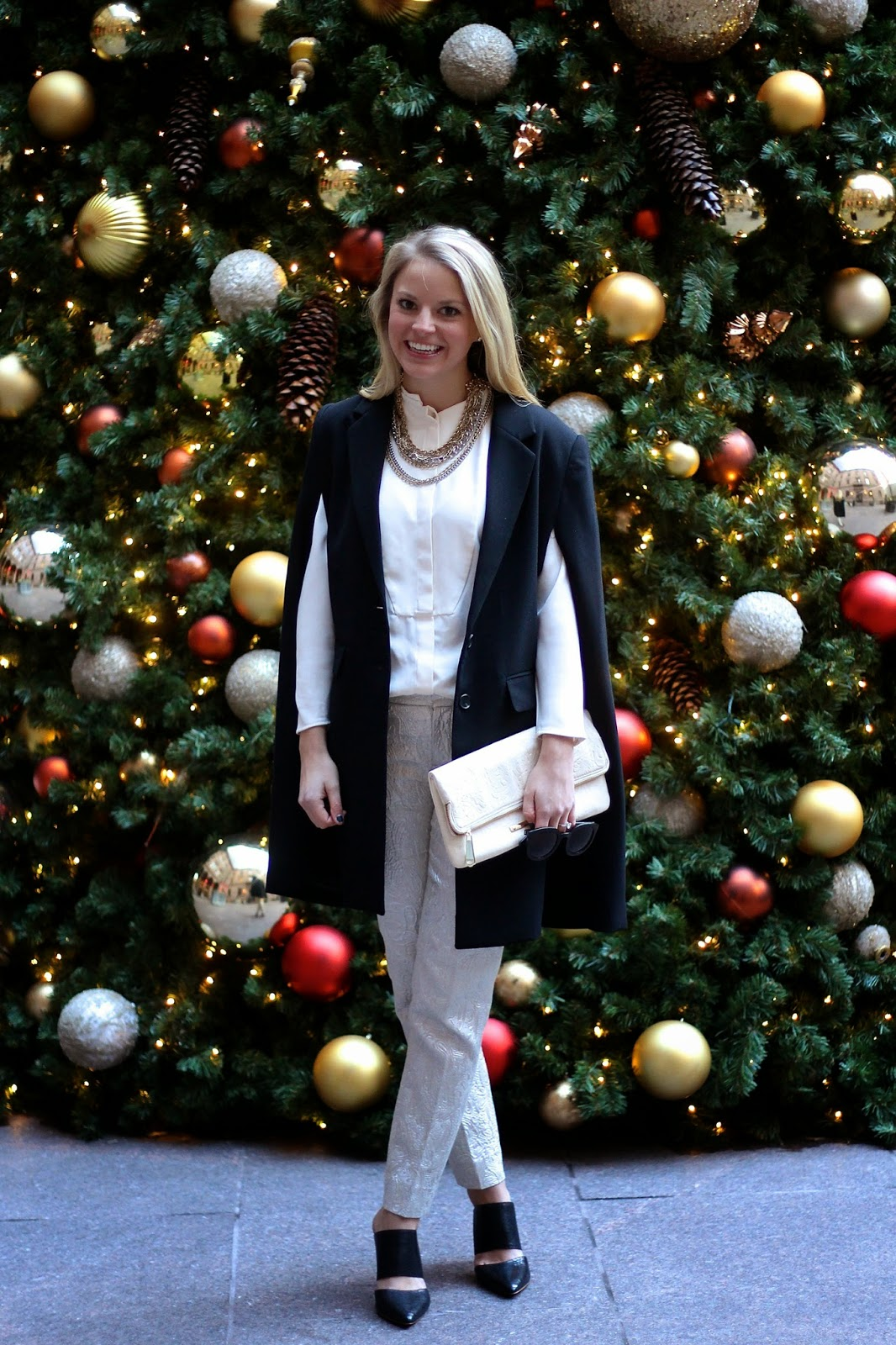 how to layer, black cape, holiday outfit, holiday party, nye outfit