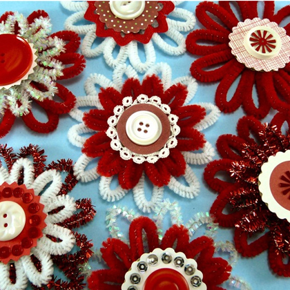 How to Make Festive Chenille Flower Ornaments