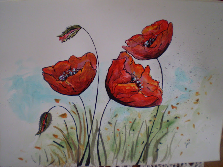 Poppies PA10, watercolor, signed Joli, A4