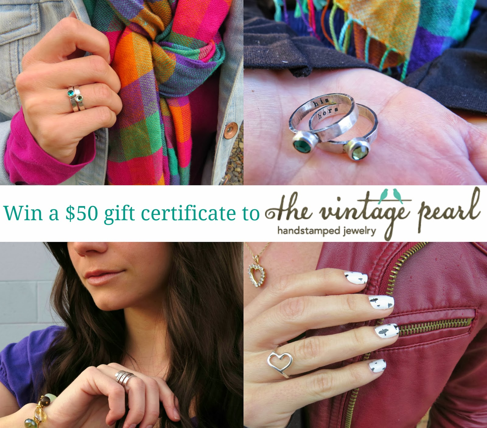 Win a $50 gift certificate to The Vintage Pearl, handstamped jewelry