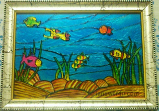 marine life glass painting, fish glass painting
