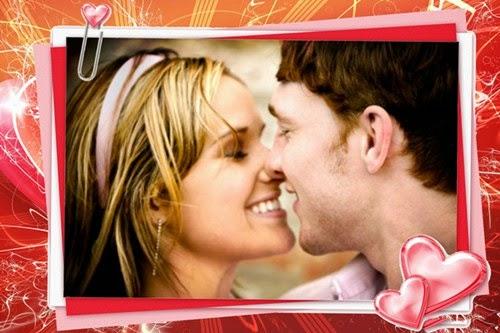 Montagem de fotos com molduras de amor