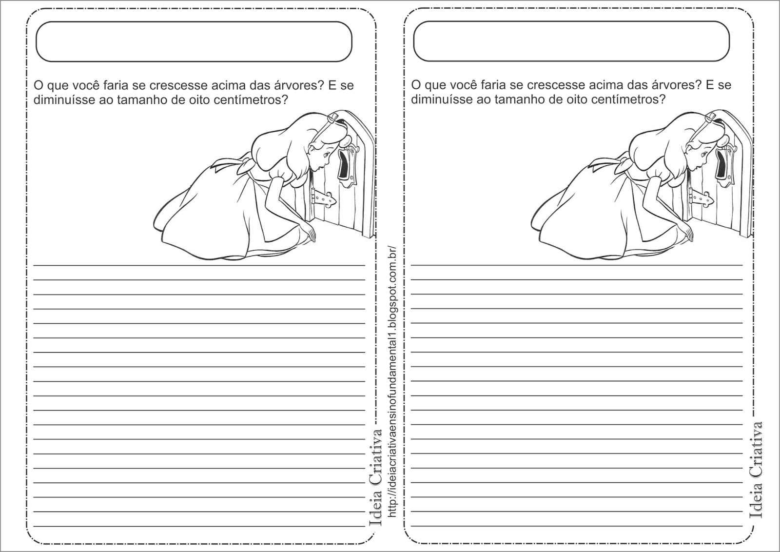 Atividade Leitura e Produção de Texto Alice no País das Maravilhas