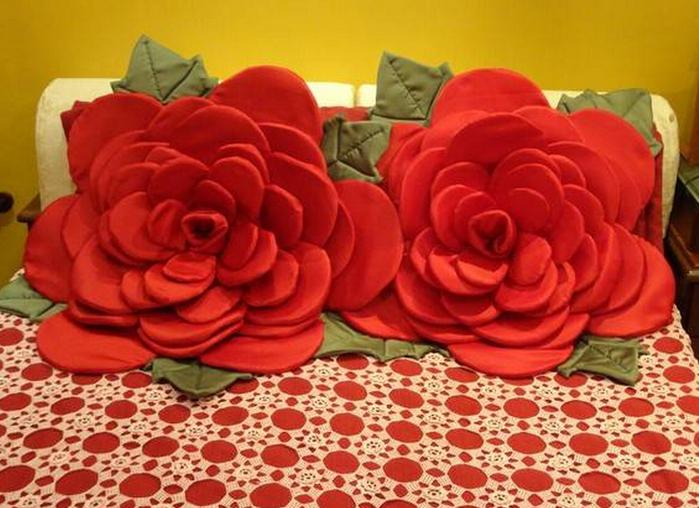 Цветы для подушек своими руками 858