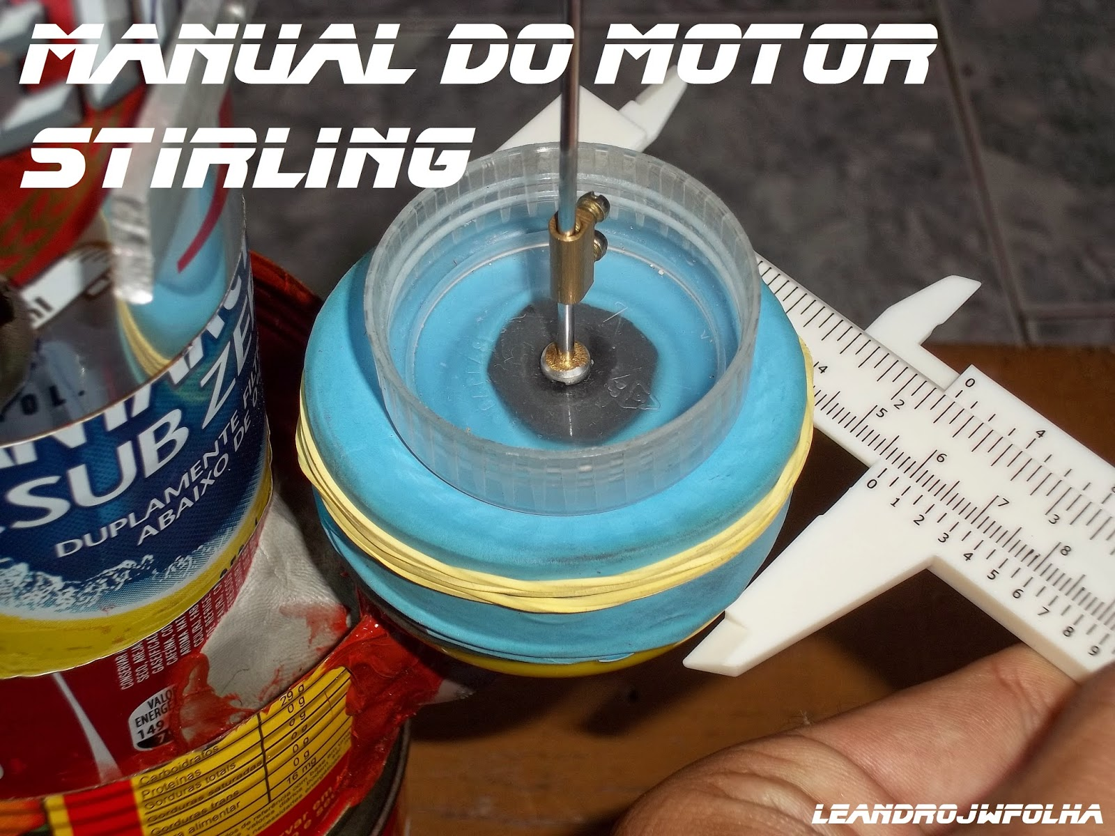 Manual do motor Stirling, 57 mm de diâmetro o cilindro do pistão de trabalho