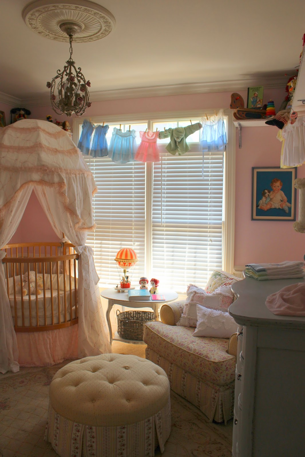 vintage nursery furniture. And A Better View Of Her BedIt\u0027s Round Crib With Tall Canopy On Top. Most People Actually Choose To Display In The Center Their Room Vintage Nursery Furniture