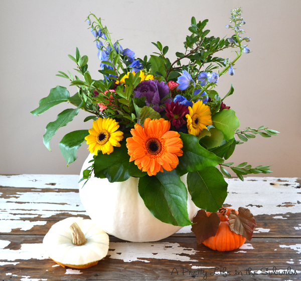 DIY Pumpkin Flower Arrangements  {A Pretty Life}