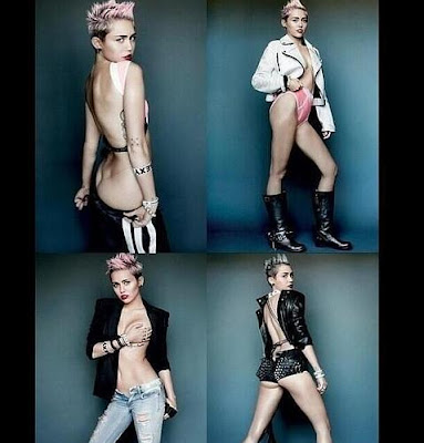 Miley Cyrus, each day with less clothing