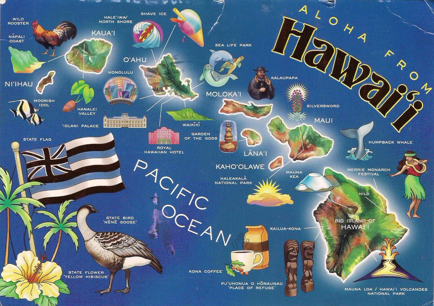 More POSTCARDS  STAMPS USA Map Hawaii - Hawaii map usa states
