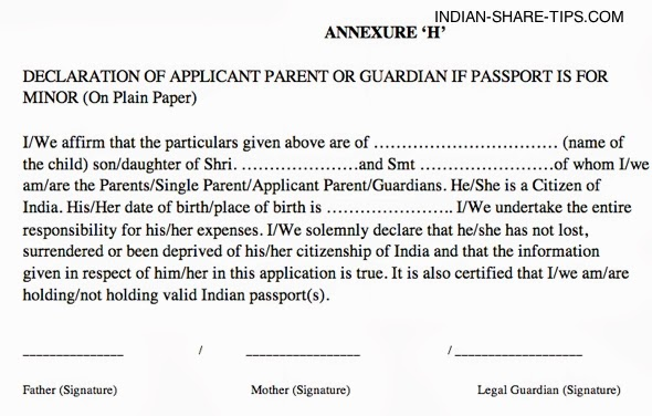Annexure H Declaration By Parent For Minor Passport Indian Stock