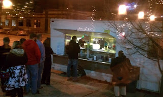 Photo of the line outside the taco truck.