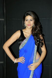 Actress Shraddha Das  Pictures in Saree at Rey A to Z Look Launch  0011