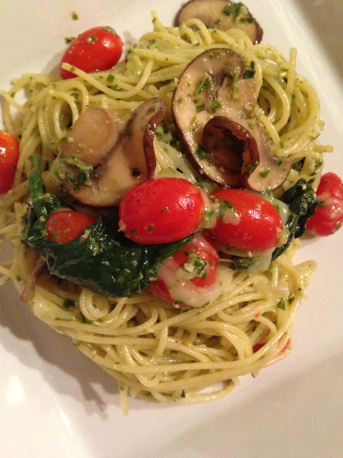 The Gastronomic Mommy Angel Hair Pesto W Spinach Mushroom Sweet