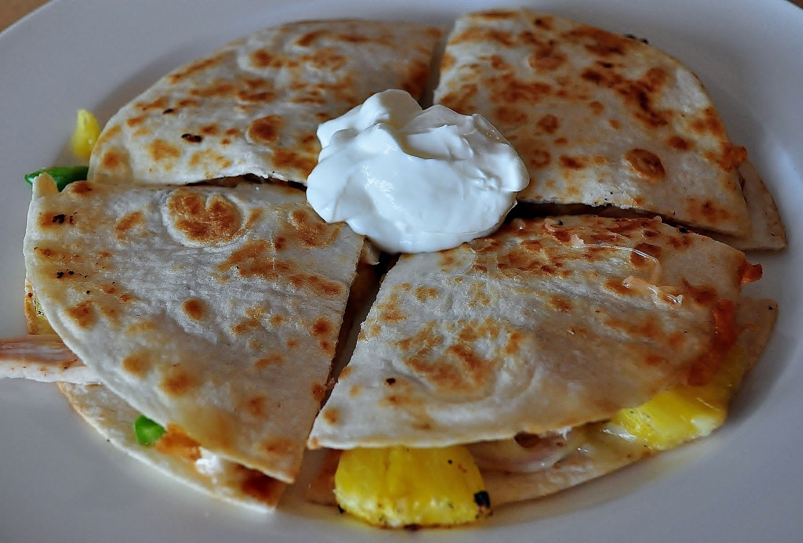 My Tiny Oven: Grilled Chicken and Pineapple Quesadilla