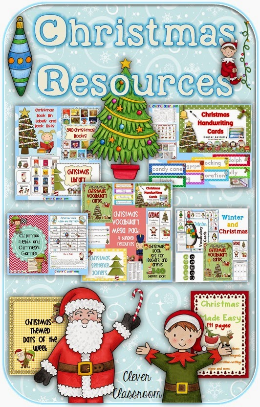 Christmas resources including loads of freebies from Clever Classrrom