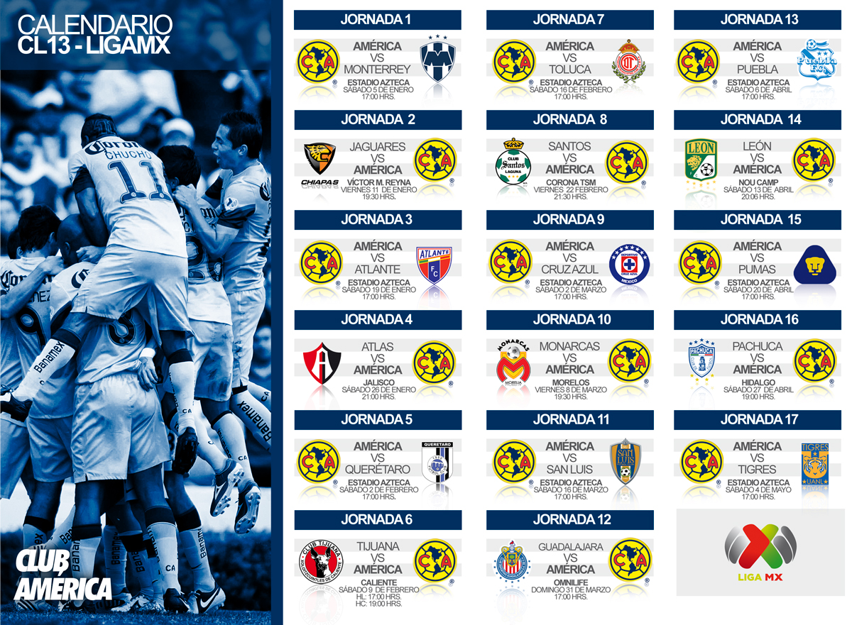 Mi Pasion Por el America: Calendario LIGA MX CLUB AMERICA 2013