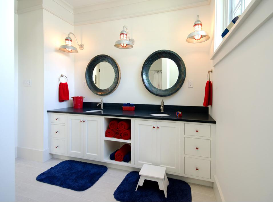Delorme designs nautical bathrooms for Nautical bathroom decor ideas
