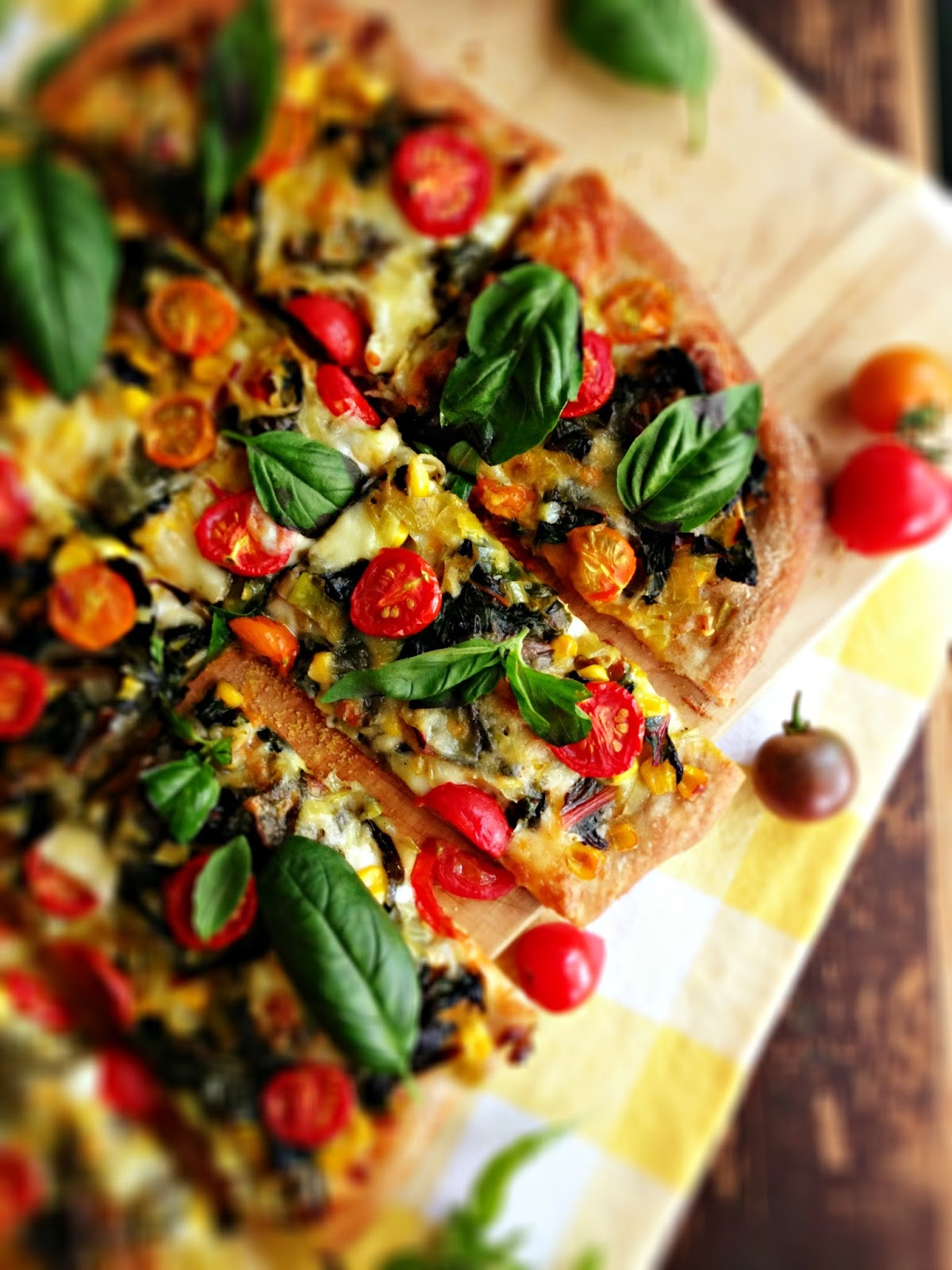 sweetsugarbean: Swiss Chard & Corn Pizza with Cherry Tomatoes and ...