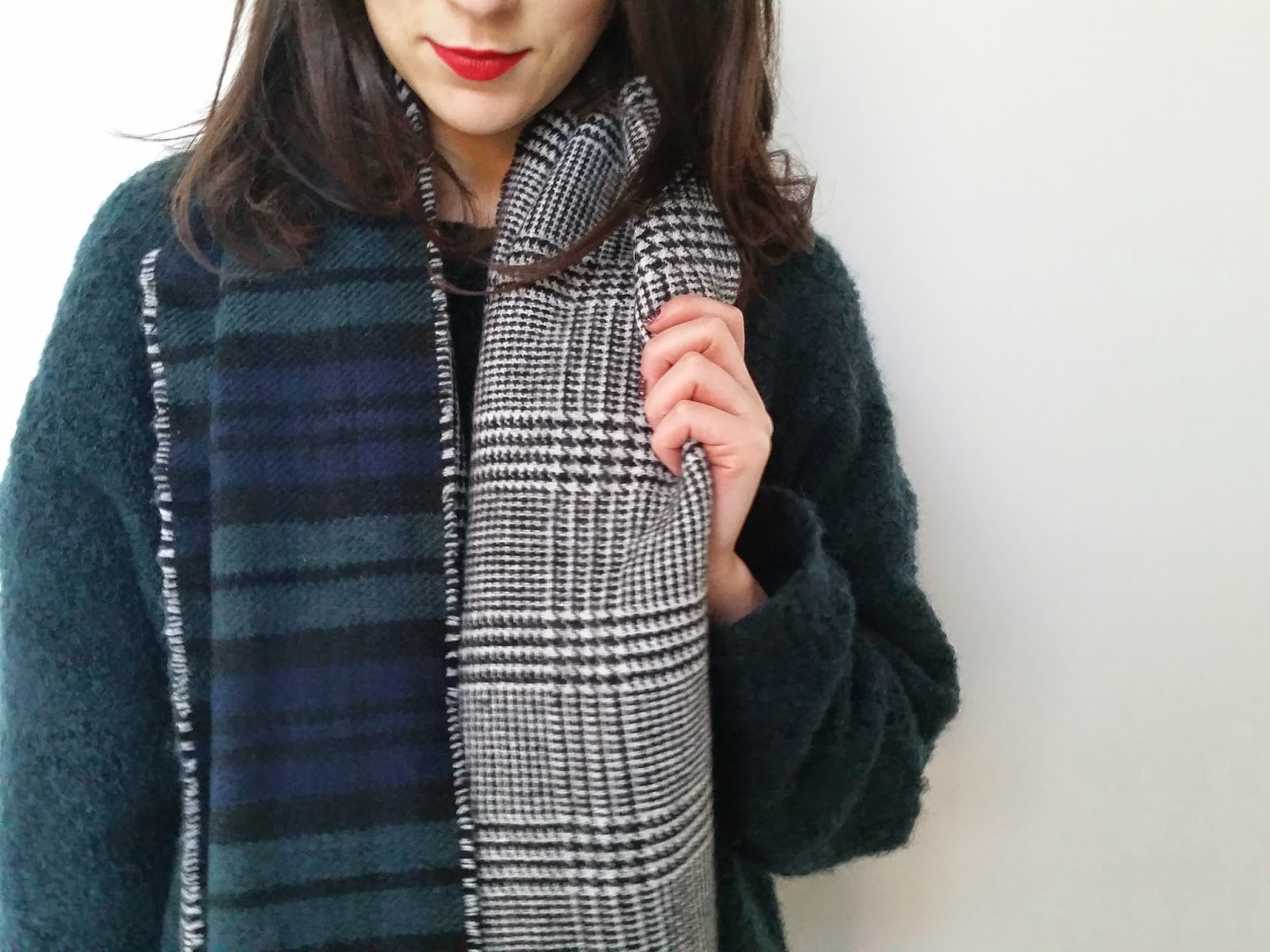 New Look Dark Green Tartan Check Reversible Oversized Scarf