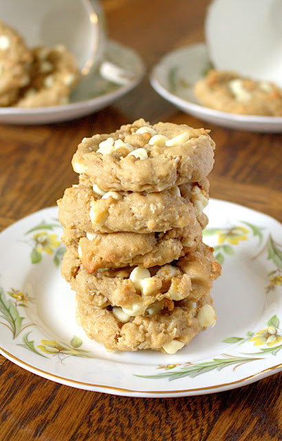 Coconut Cream Cheese White Chocolate Chip Cookies - soft baked, one bowl and delicious