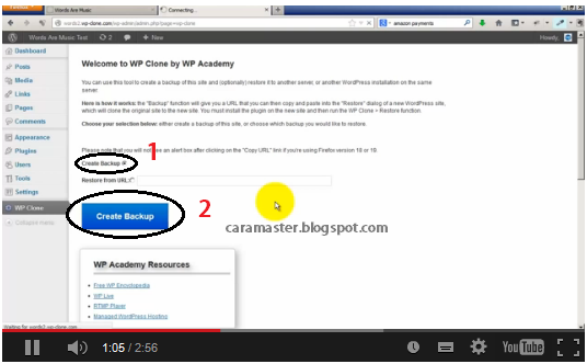 cara backup blog wordpress ke blog lama