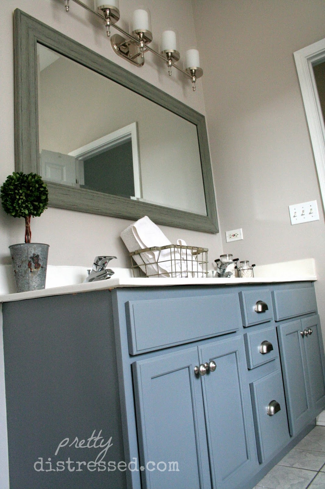 Painting Bathroom Cabinet pretty distressed: bathroom vanity makeover with latex paint