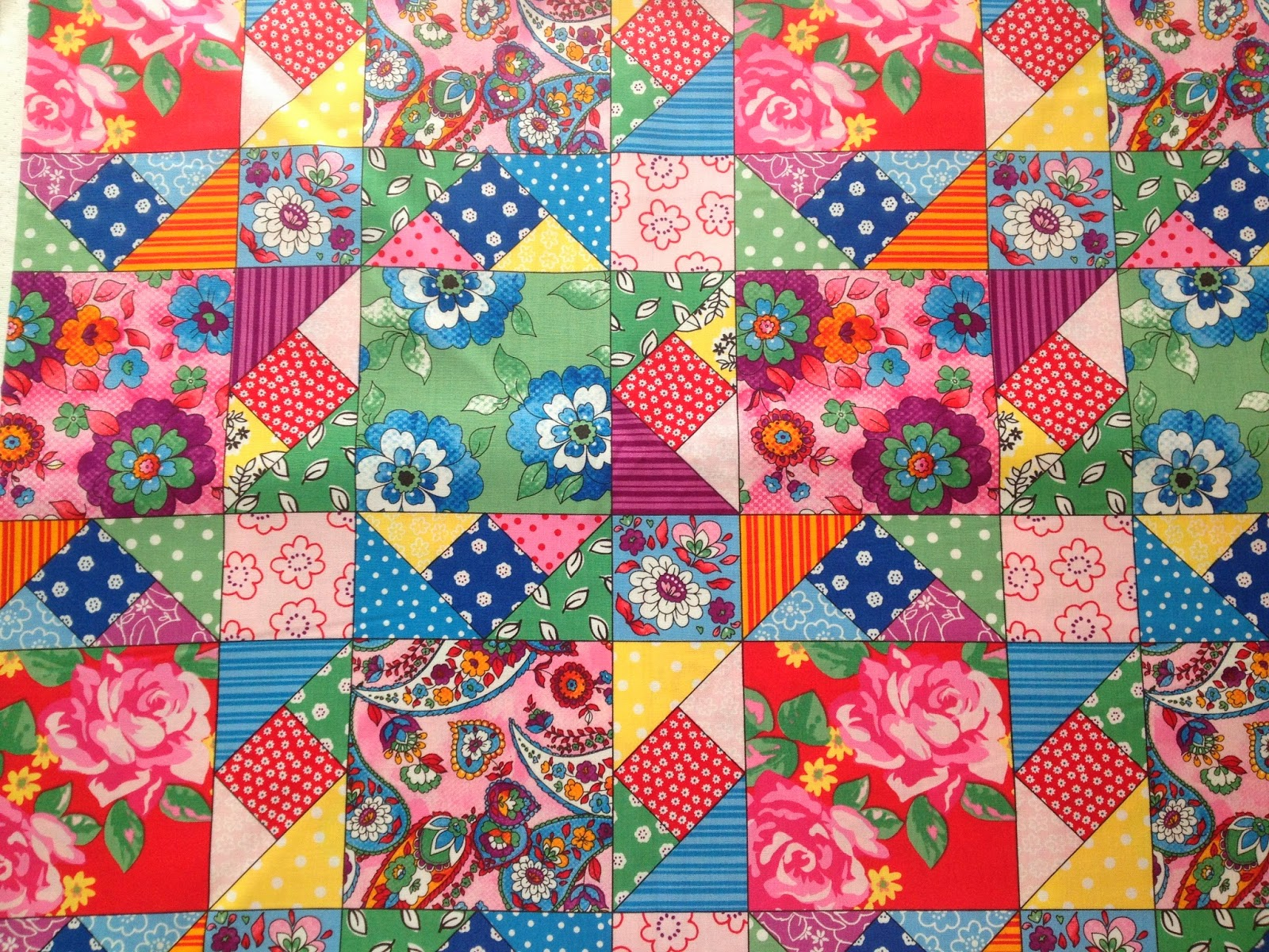 Flowers in the Window: Quilting Bee Patchwork Fabric