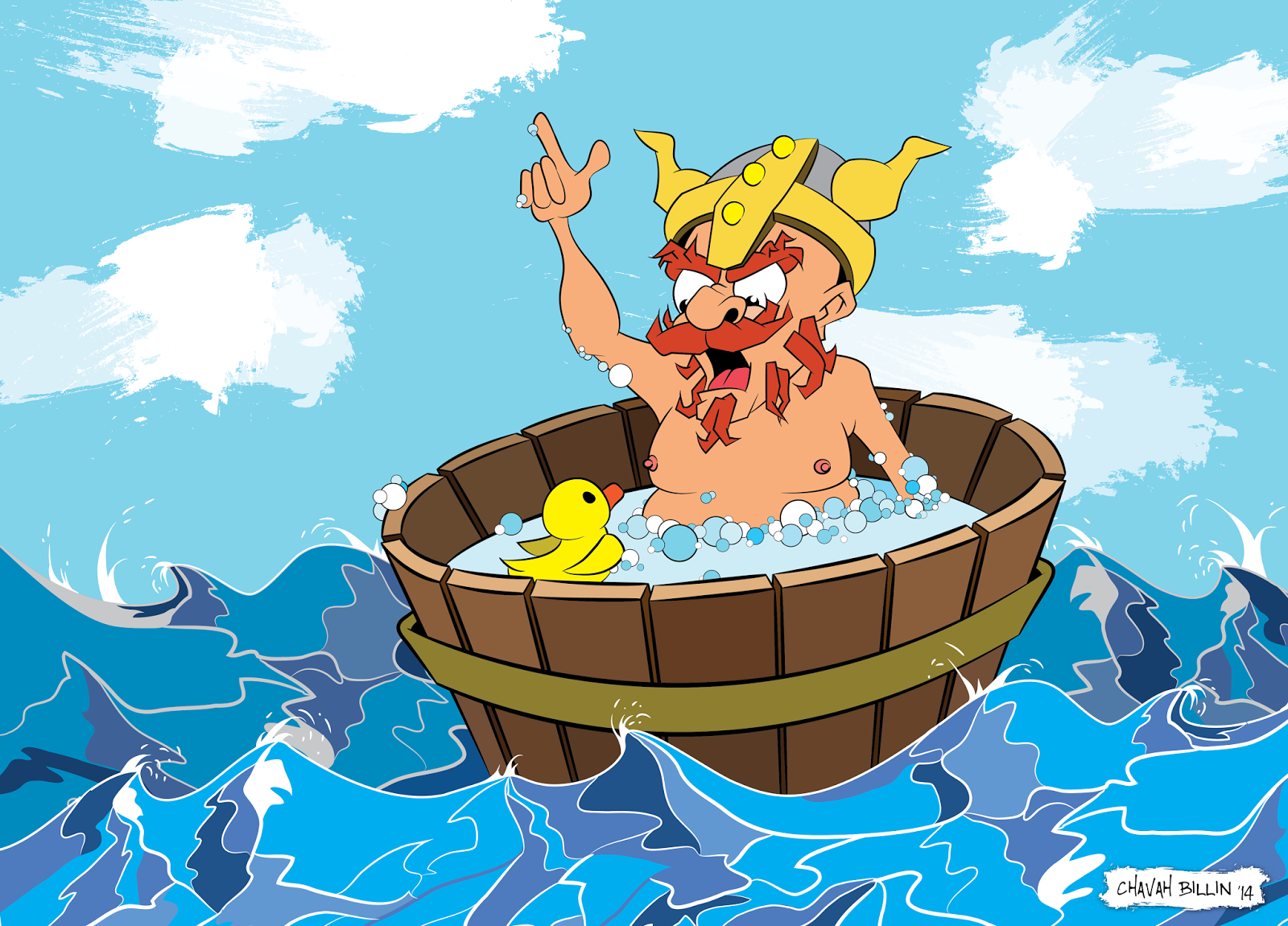 Viking in tub with Rubber Ducky