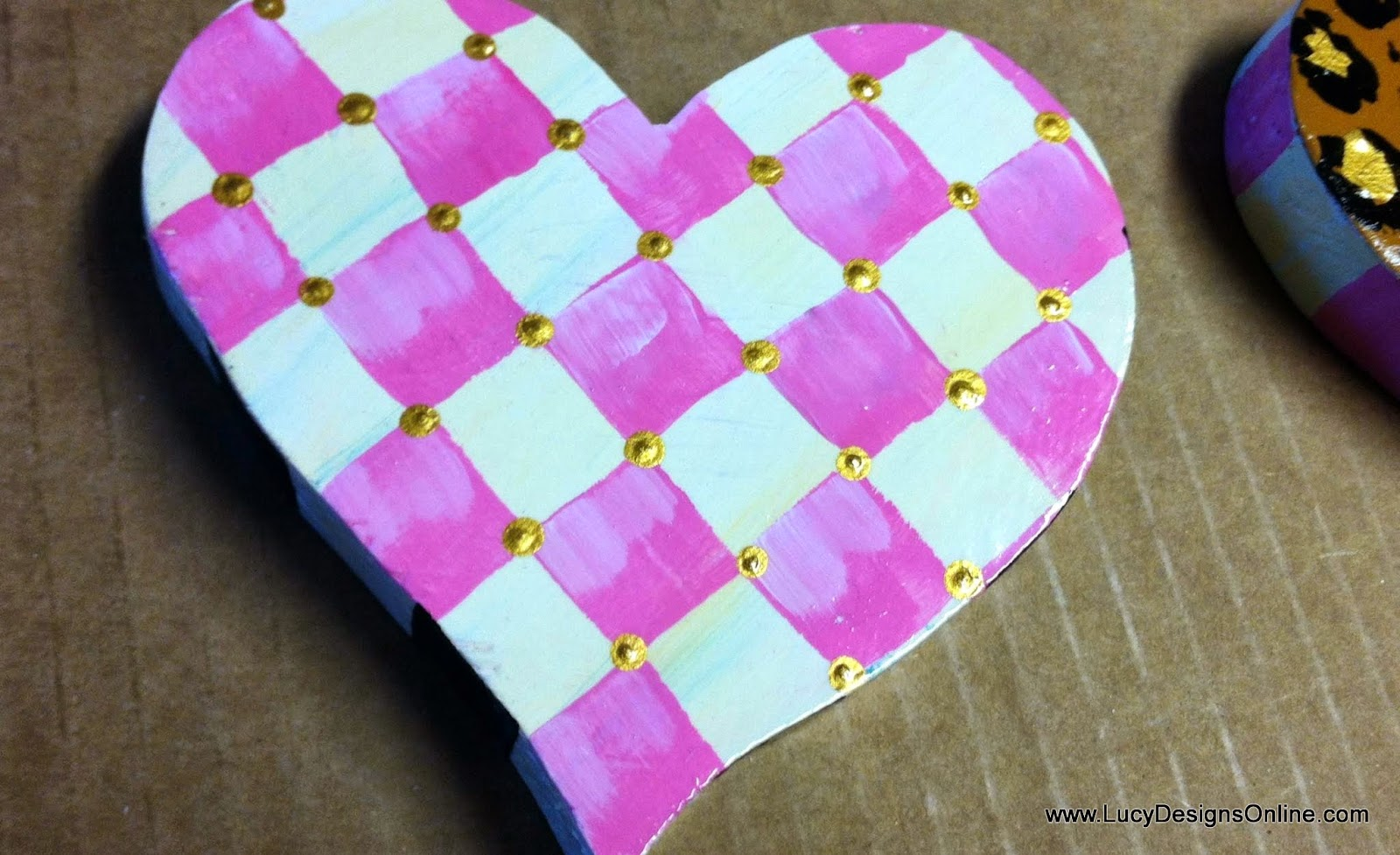 hand painted pink and cream check wooden heart cut out