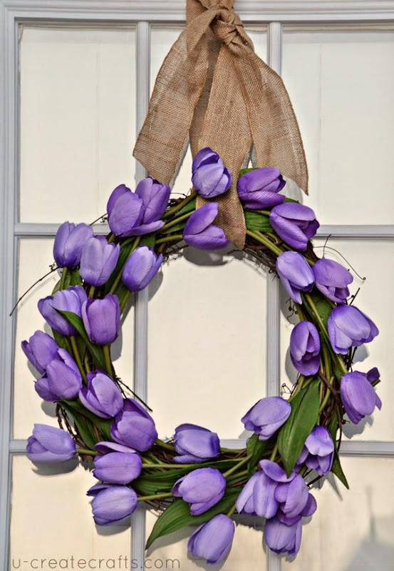 Simple Spring Wreath Tutorial - u-createcrafts.com