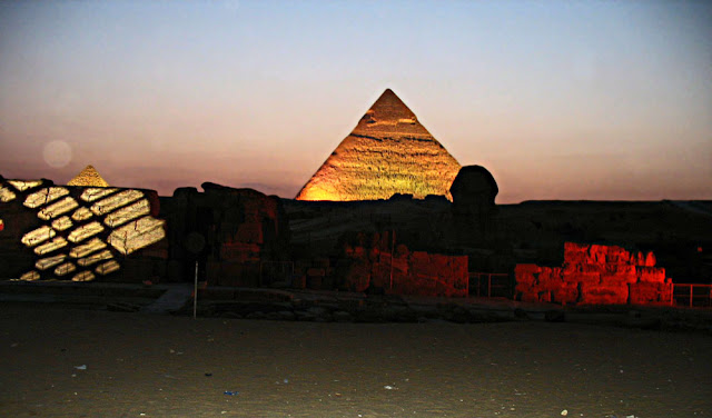 Khafre's pyramid lighted up at night