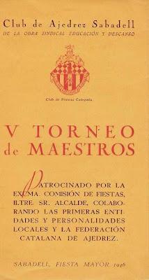 Cartel del V Torneo de Maestros del Club de Ajedrez Sabadell 1946