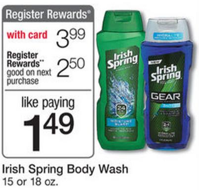Coupon irish spring body wash