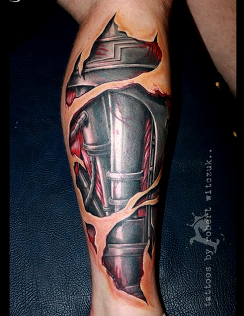 home leg tattoos 3d mechanical realistic leg tattoo on leg