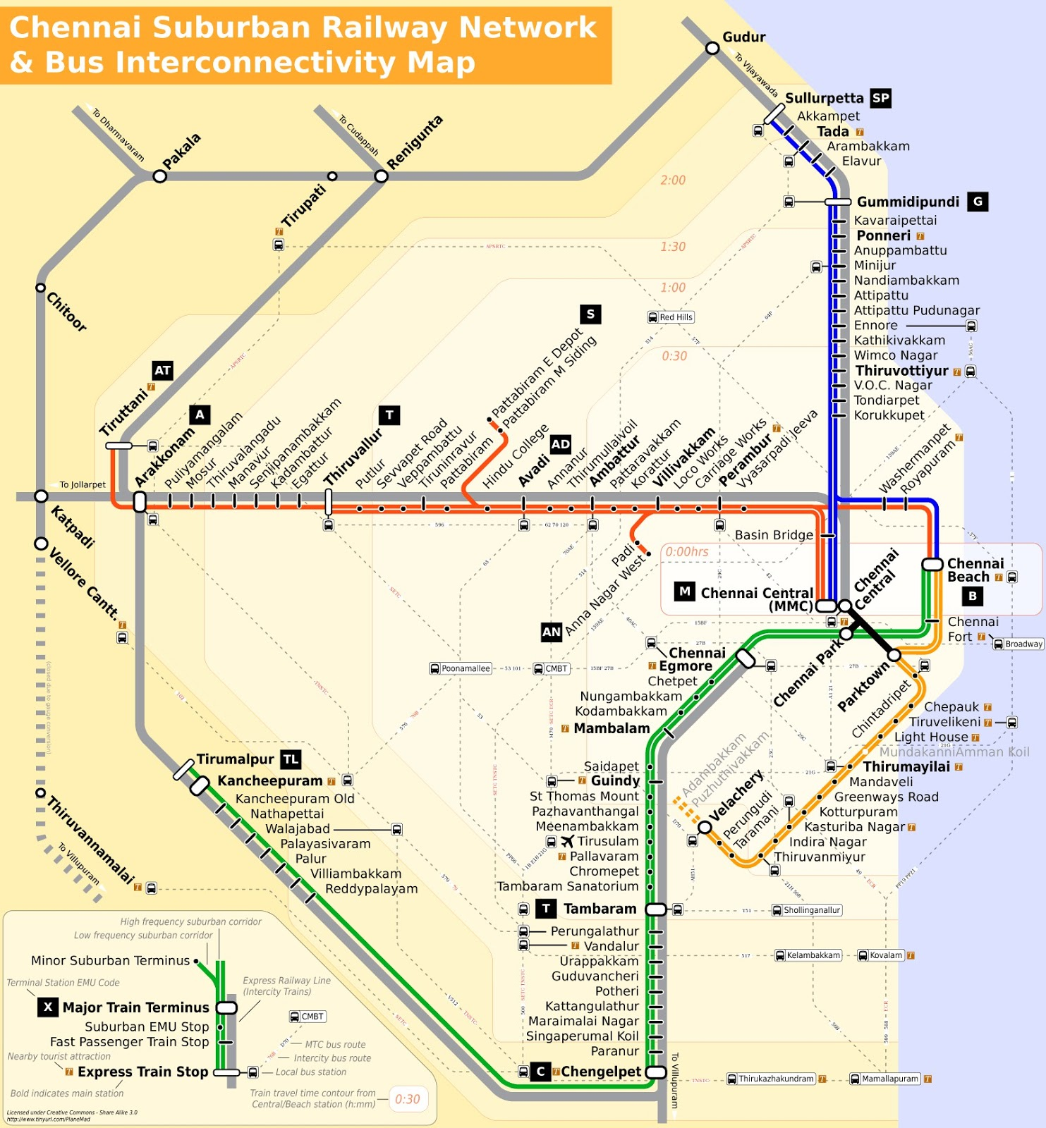 chennai suburban rail and bus interconnectivity map