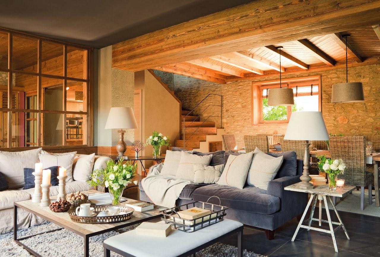 en este estilo encontramos partes viejas y rayadas que inundan el hogar mediante acabados en las paredes o en el mobiliario siendo la madera