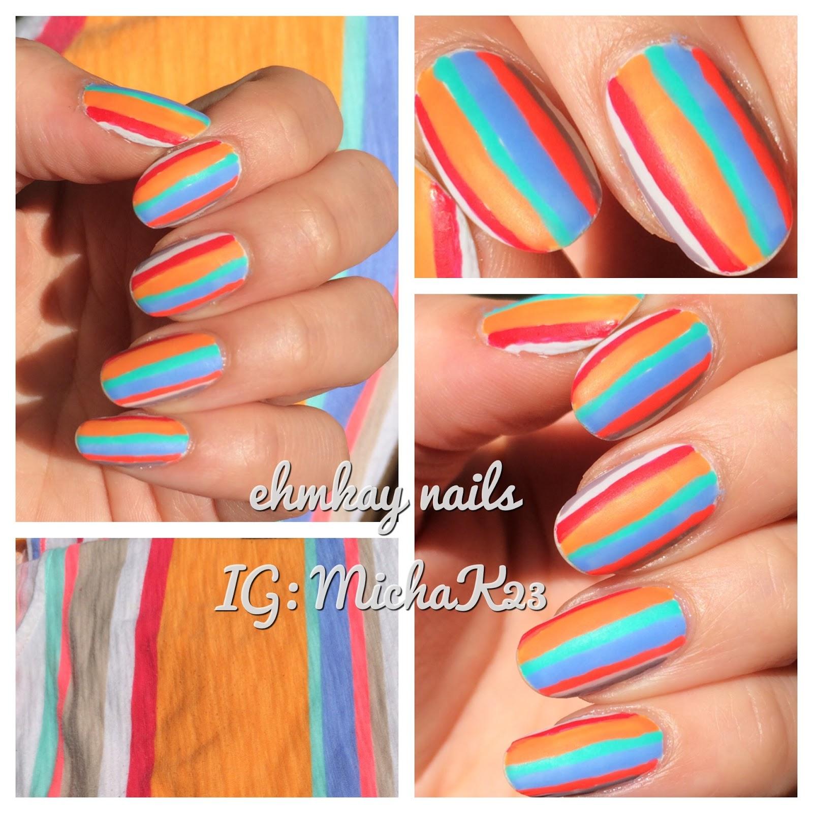ehmkay nails: Clothing Inspiration: Neon Matte Stripes Nail Art