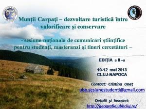 """Sesiunea """"Munții Carpați - dezvoltare turistică între valorificare și conservare"""", Cluj-Napoca"""