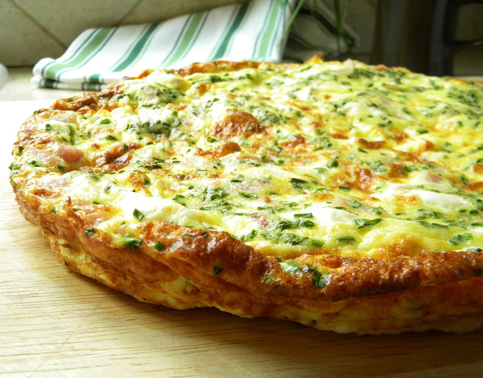 lovin' forkful: Frittata with Ham, Cream Cheese and Chives