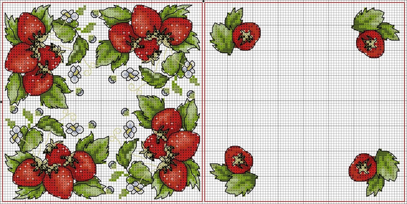 домик вышивки с розами схема