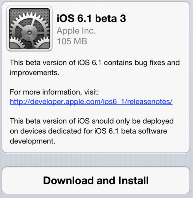 Apple iOS 6.1 Beta 3 Update for iPhone, iPad and iPod