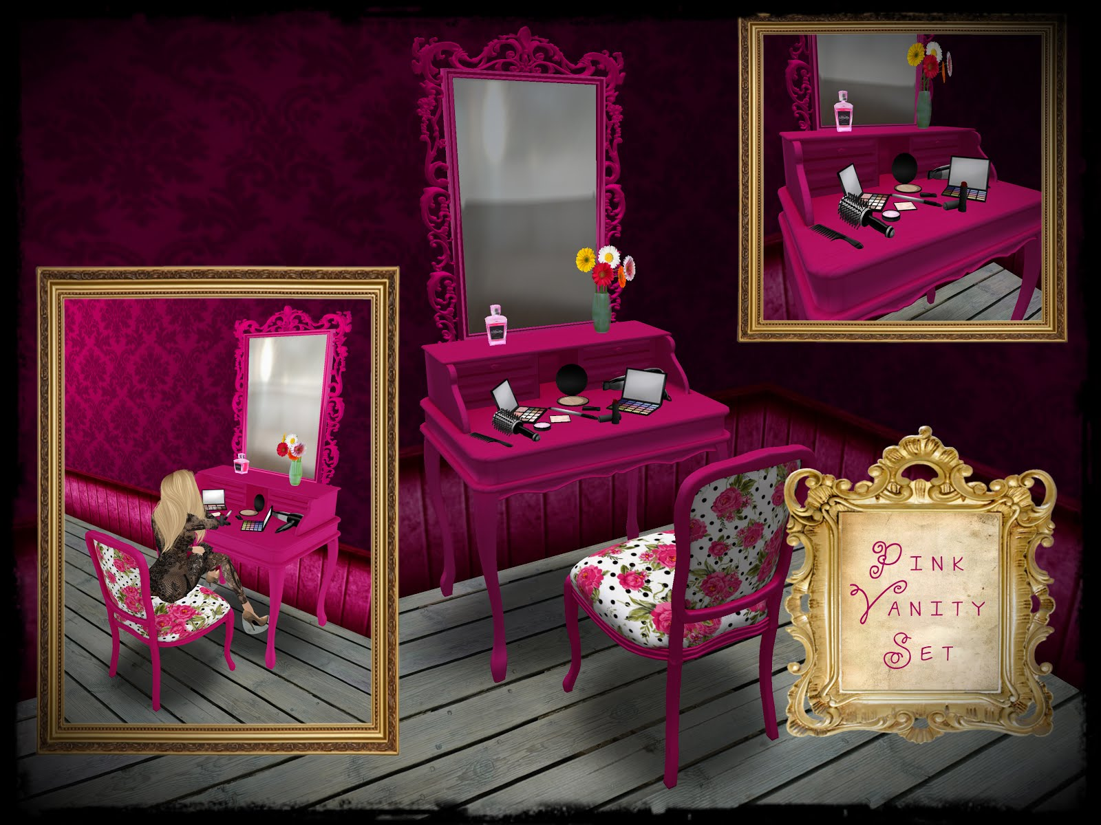 Boudoir couture furniture vitabela pink vanity set contains pink vanity with all make up set on it with matching lovely chair with 6 vanity poses inside check this lovely furniture in geotapseo Gallery