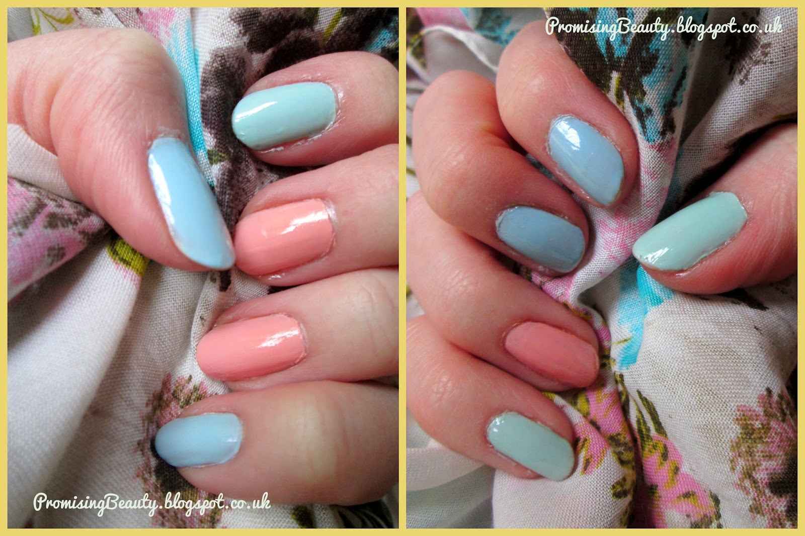 Nail polish summer springtime manicure colours, base colours of pastel shades of mint green, light blue and peach orange. Make-up revolution Cool Days, Barry M blue Moon and Peach Melba nail polishes.