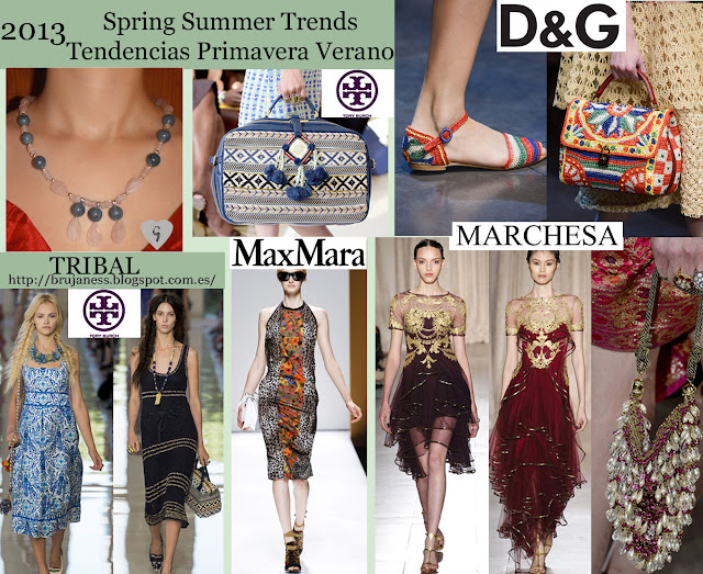 Tribal trend on Fashion shows Spring Summer 2013/ Tendencia tribal en la pasarela Primavera verano 2013 Dolce&gabbana, dolce and gabbana, marchesa, max mara, maxmara, tory burch, runaway, fashion show, pasarela