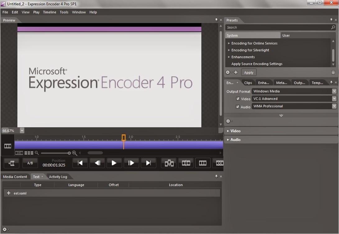 تحميل برنامج ادارة ملفات الميديا Microsoft Expression Encoder 4