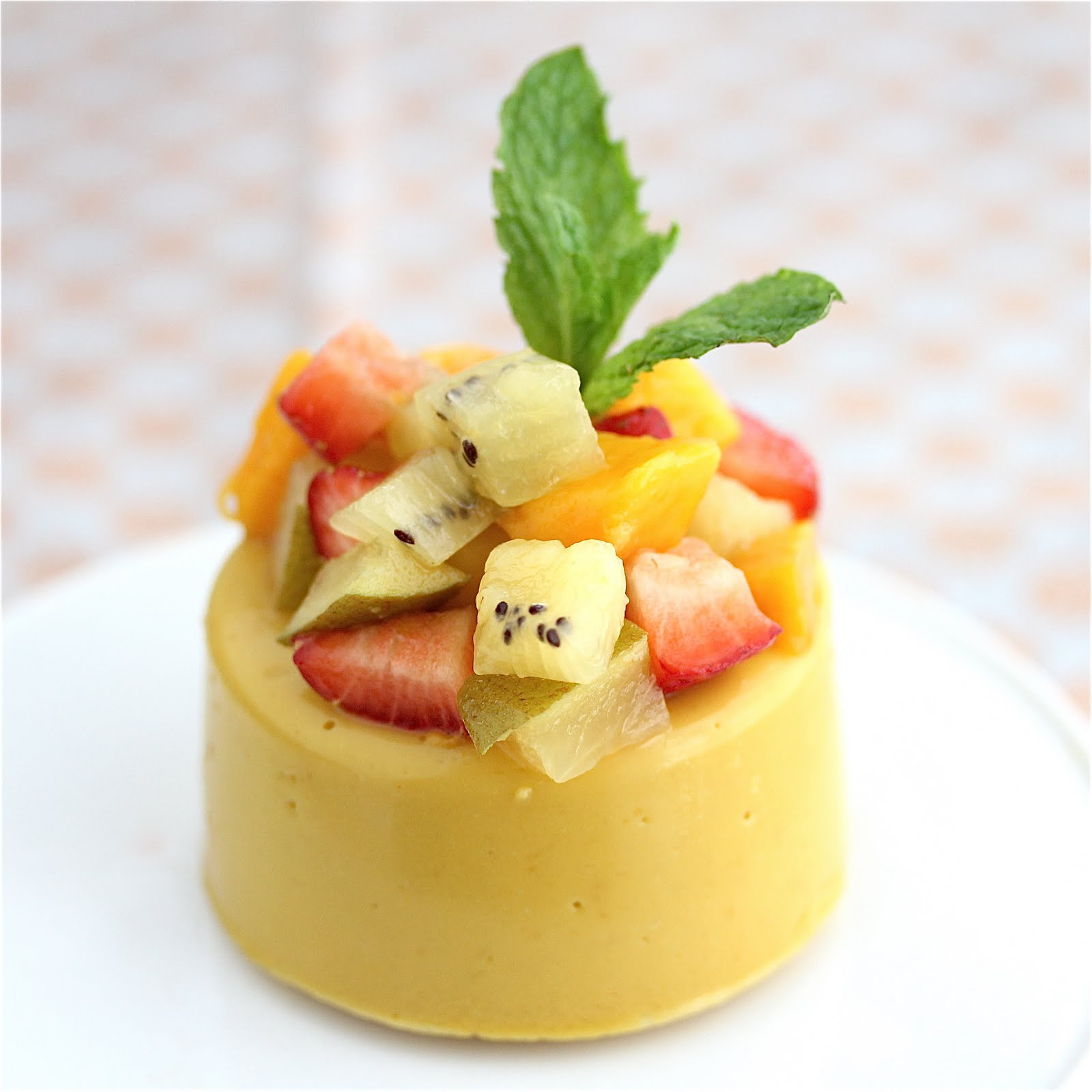 Mango Panna Cotta topped with Gold Kiwi Fruit, Mangoes and ...