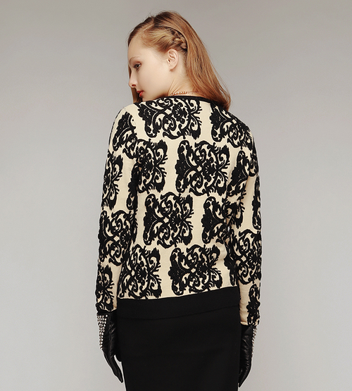 Delicate Lace Print Knitted Zip Up Cardigan