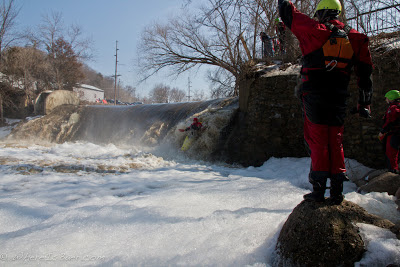Todd Dammitt trying to dial in his boof on the dam, sand creek, minnesota, Chris Baer,